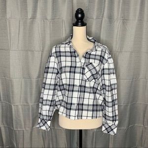 NWT BP Ivory Cora Plaid Shirt size small
